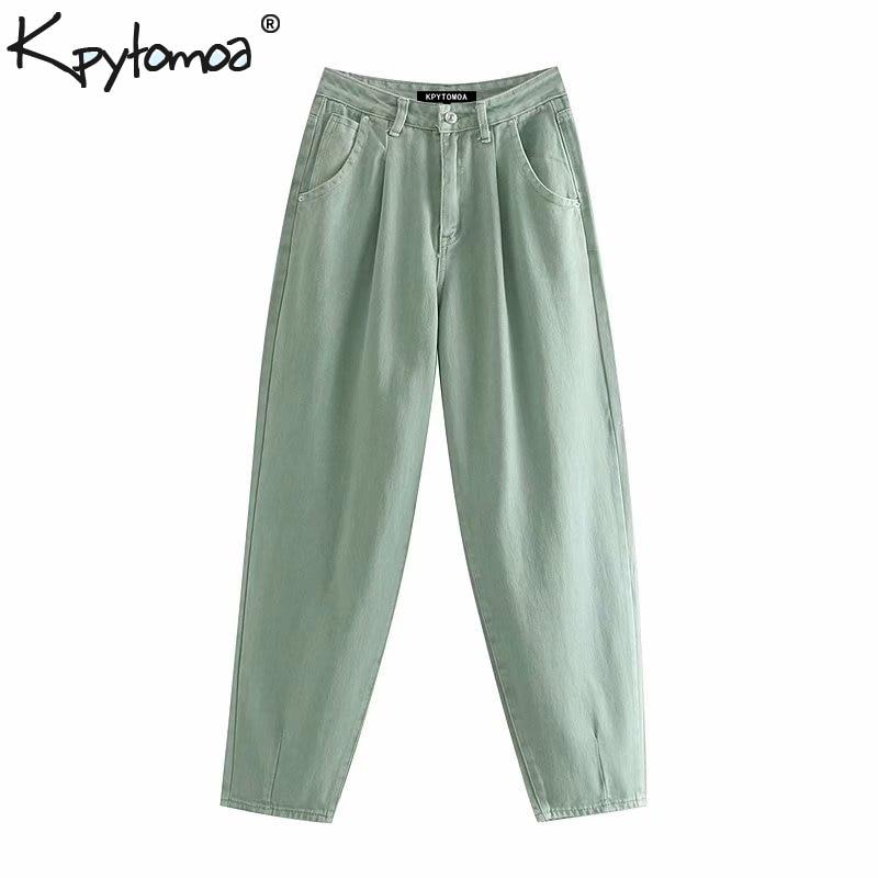 Vintage Stylish Pockets Darts Jeans Women 2019 Fashion High Waist Zipper Fly Denim Harem Pants Chic Jean Femme Trousers