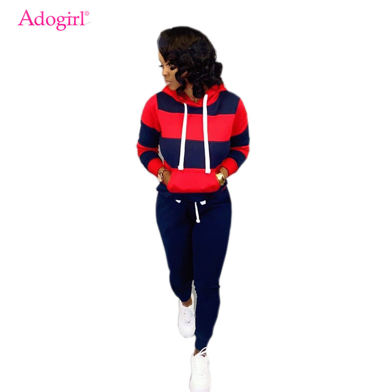 Adogirl Stripe Color Block Women Tracksuit Fashion Casual Two Piece Set Drawstring Long Sleeve Pullover Hoodie Fitness Pants