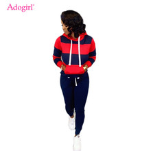 Adogirl Stripe Color Block Women Tracksuit Fashion Casual Two Piece Set Drawstring Long Sleeve Pullover Hoodie Fitness Pants color block panel drawstring pullover hoodie