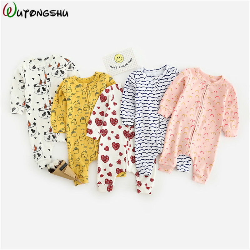 Newborn Baby Boys Girls Romper For 0-2Y Animal Printed Long Sleeve Winter Cotton Romper Kid Jumpsuit Playsuit Outfits Clothing