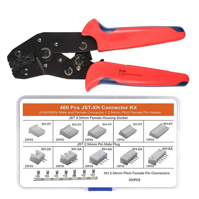 Dupont, SN-28B alicate de friso 460 peças JST-XH conectores kit terminal pinça ferramenta de engaste para 2.54mm 3.96mm 23-17awg 0.25-milímetros
