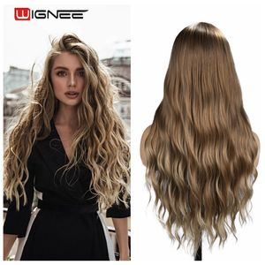 Image 1 - Wignee Ombre Brown Synthetic Wigs for Women Middle Part Long Wave Natural Hair For American Fiber Daily/Party/Cosplay Hair Wigs