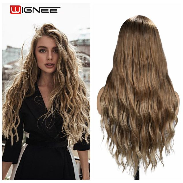 Wignee Ombre Brown Synthetic Wigs for Women Middle Part Long Wave Natural Hair For American Fiber Daily/Party/Cosplay Hair Wigs