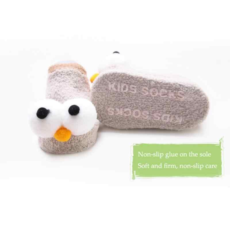Zapatilla para recién nacidos, Calcetines antideslizantes de algodón con bonitos dibujos para bebés y niños, calcetines cálidos para el suelo, novedad de primavera y otoño