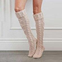 Женские кабель Длинные высокие ботинки-высокие гетры выше колена носок пикантные босоножки на широком высоком трикотажные колготки зимняя...