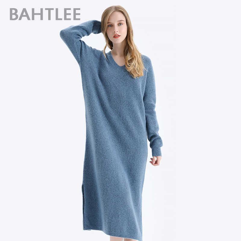 BAHTLEE 여성 야크 벨벳 롱 풀오버 스웨터 가을 겨울 울 니트 점퍼 긴팔 v 넥 느슨한 스타일