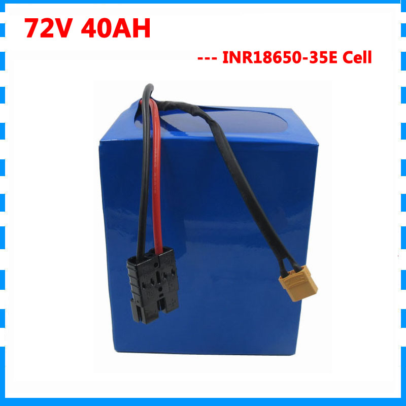 3000W 72v 40ah battery pack 72V electric bike Lithium ion battery Use for samsung 35E Cell with 50A BMS and 4A Charger image
