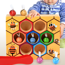 Giocattoli educativi pendenti in legno caldo bambini Montessori educazione precoce gioco alveare colore dell'infanzia Clip cognitiva giocattolo ape piccola