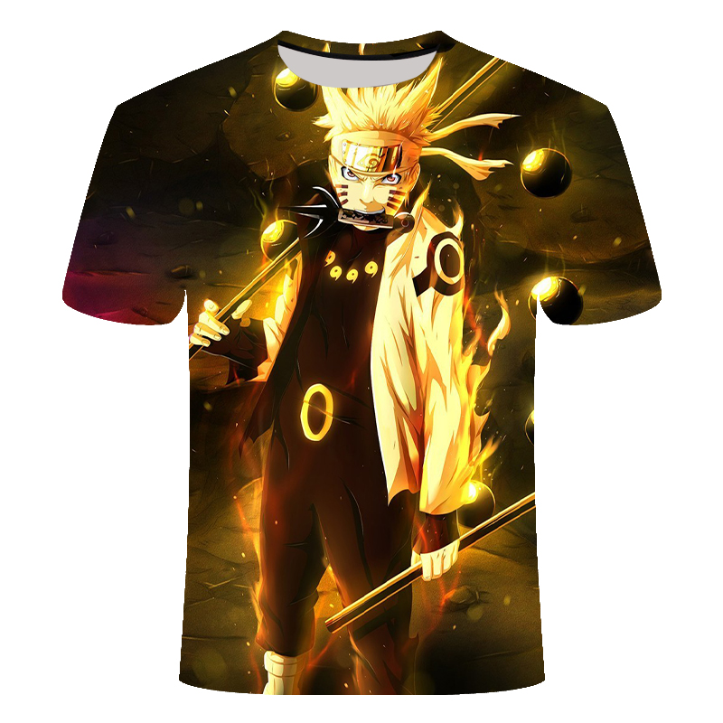 Latest Cool Anime Pattern Tops tee Men Fashion Tee 2020 Fashion Men Tops T-shirt Summer Newest 3D Print Naruto Printing T-shirt