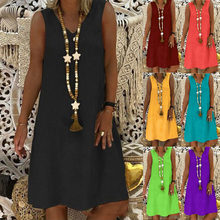 Summer New Solid Color Suspender Skirt Ladies Urban Casual Round Neck A Line Skirt Dress Fashion Plus Size Clothing