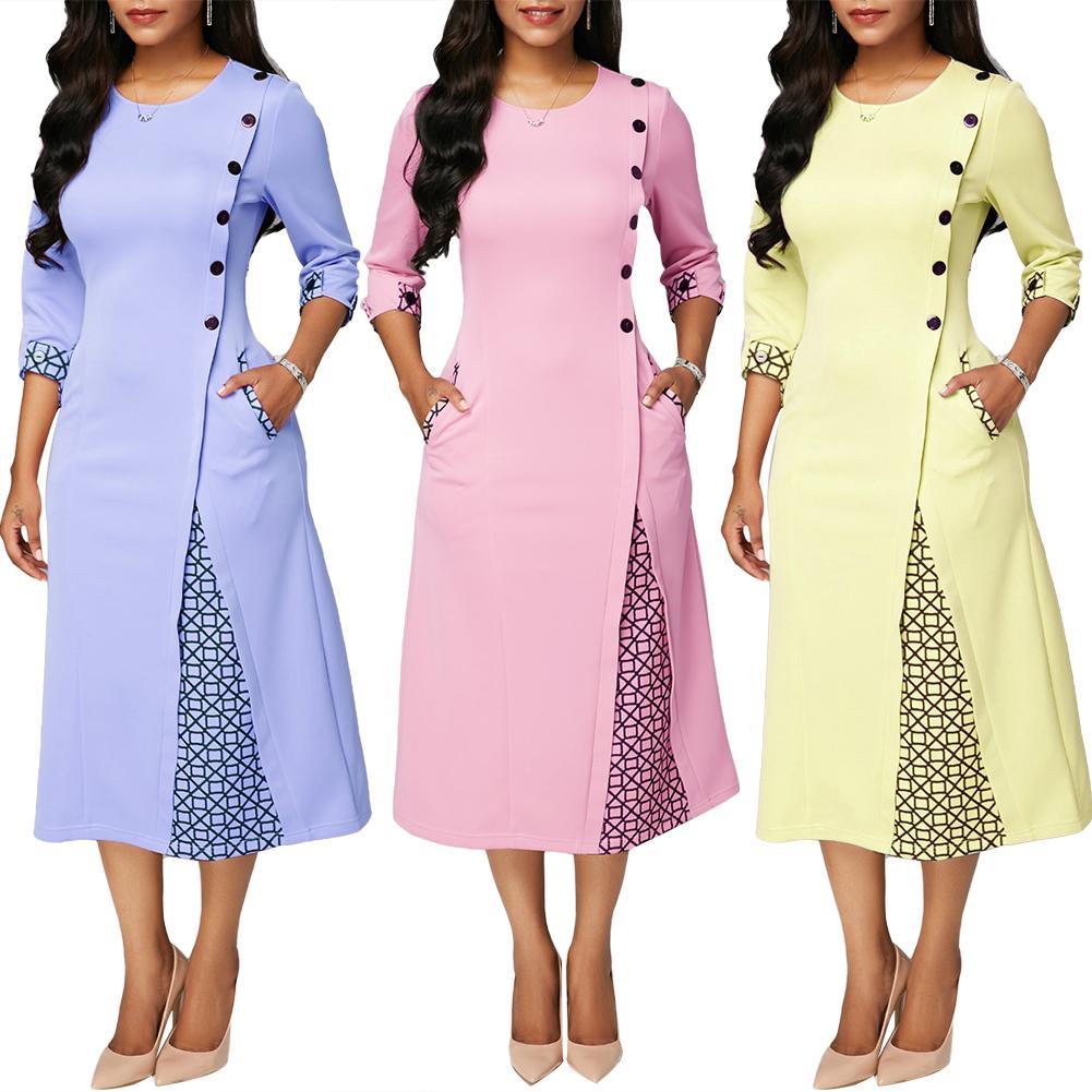 Hot apparel Plus Size Dresses Party Women Autumn Geometric Patchwork