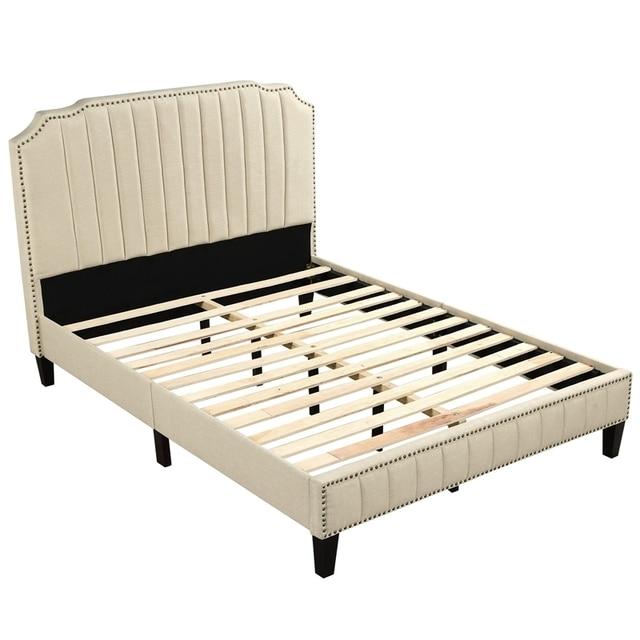 Upholstered Platform Bed With Nailhead Trim  4