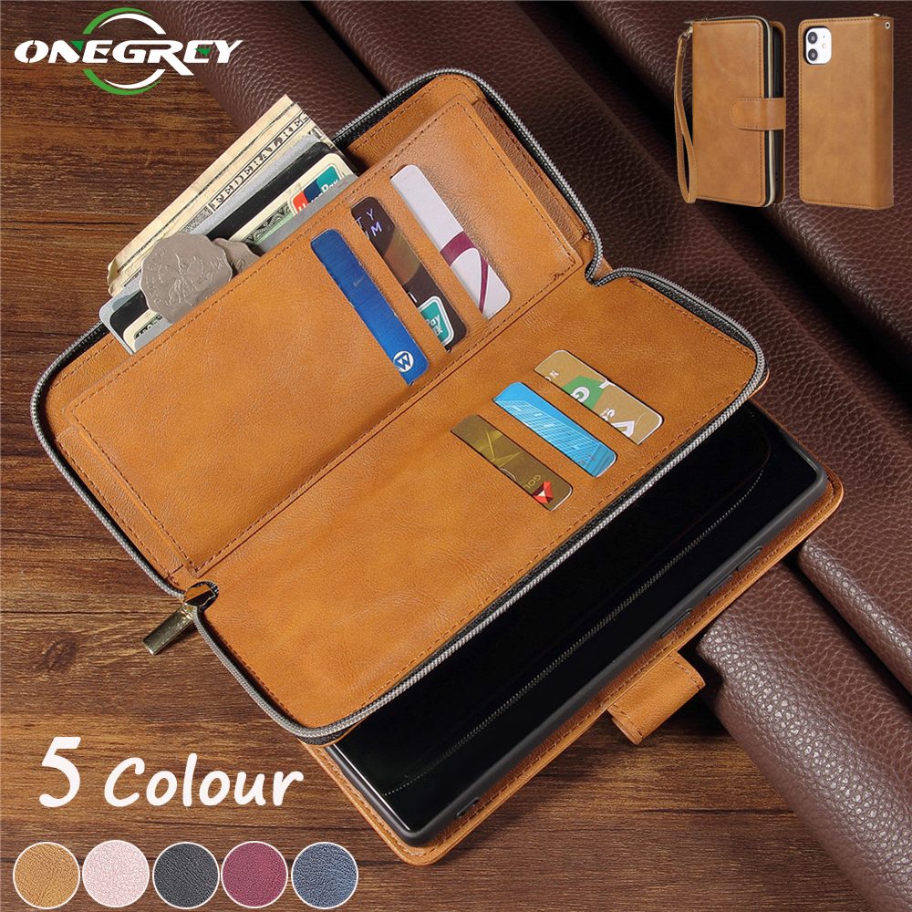 Luxury Leather Zipper Wallet Case For iPhone 12 Mini 11 Pro XS Max XR X 8 7 6 6s Plus SE 2020 Flip Card Holder Phone Bags Cover