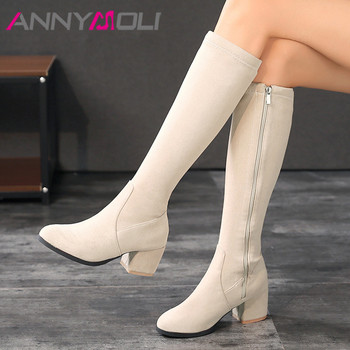 ANNYMOLI Knee High Boots High Heel Woman Boots Chunky Heel Round Toe Long Boots Zipper Female Shoes Autumn Winter Beige Size 46 haraval handmade winter woman long boots luxury flock round toe soft heel shoes elegant casual warm retro buckle solid boots 289