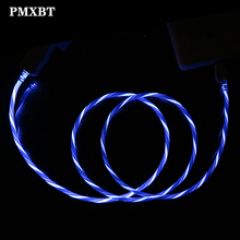 LED Lighting Glowing Flowing Cable For iphone 7 8 Luminous Bright Data Charging Cord Micro USB Type C Samsung Galaxy S9 S8
