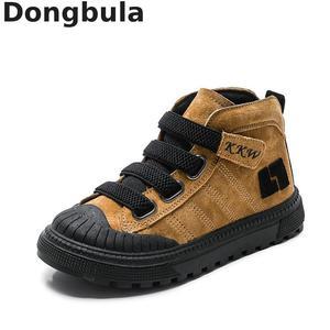 Image 1 - 2019 çocuk botları erkek spor ayakkabı kış yeni peluş sıcak kızlar çizmeler moda çocuk Martin çizmeler hakiki deri okul ayakkabısı