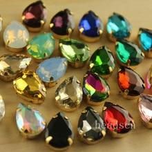 20 шт. 10x14 мм каплевидные Блестящие кристаллы пришить камни с Золотой медной коготь стразы цвета link1 diy для платья/сумки