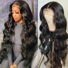 30 38 40 дюймов бразильские свободные глубокая волна парик прозрачный 13x6 13X4 Синтетические волосы на кружеве человеческих волос парики для чер...