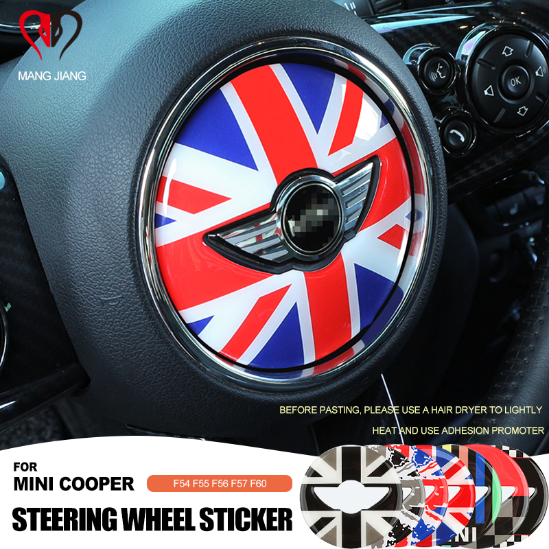 2pcs Steering Wheel Panel 3D Sticker Epoxy Case Cover For Mini Cooper F54 F55 F56 F57 F60 Countryman Clubman Decorative Stickers
