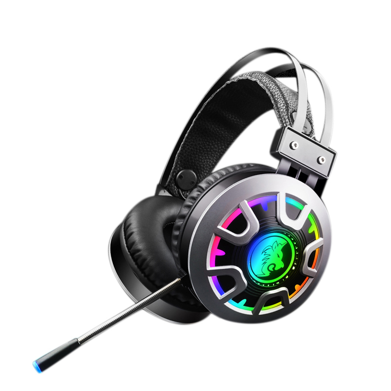M5 Game Headsets 3.5Mm Wired Headphones Noise Cancel Earphone with Mic Colorful LED Light Volume Control AUX+RGB USB for Desktop
