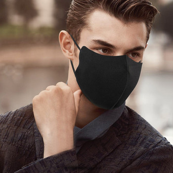 Adult Black Cotton Face Mask Adjustable Cloth Mask Face Shield Washable Man Woman Reusable Mouth Mask Mouth Caps mascarilla image