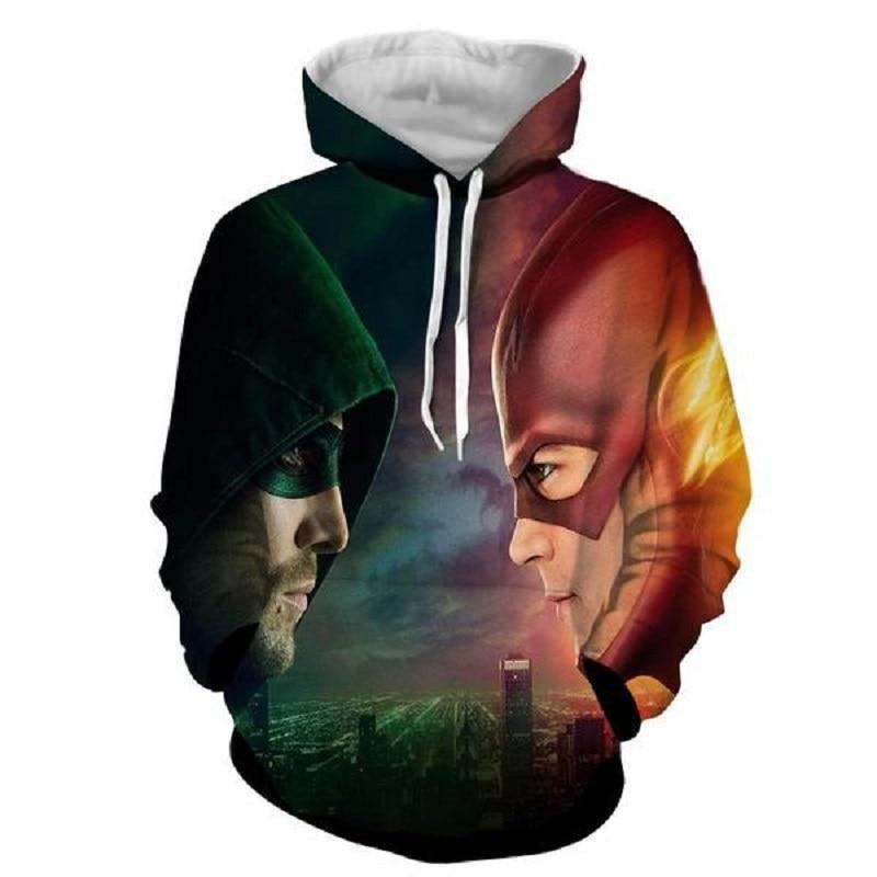 Cloudstyle 2020 New Men's Hoodies Flash & Green Arrow 3D Printed Hooded Pullovers Hoodies Harajuku Streetwear Hoodie Men AS Size