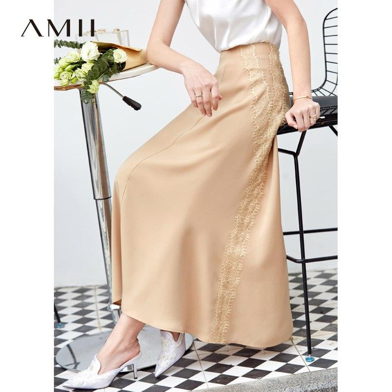 Amii Minimalist Lace Chiffon Skirt Summer Women Solid Loose A-line Long Skirt 11940205