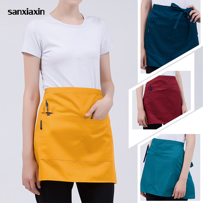 Restaurant Pinafore Adjustable Half-length Female Adult Apron Hotel Chef Kitchen Cooking Apron Bar Kitchen Work Short Pinafore