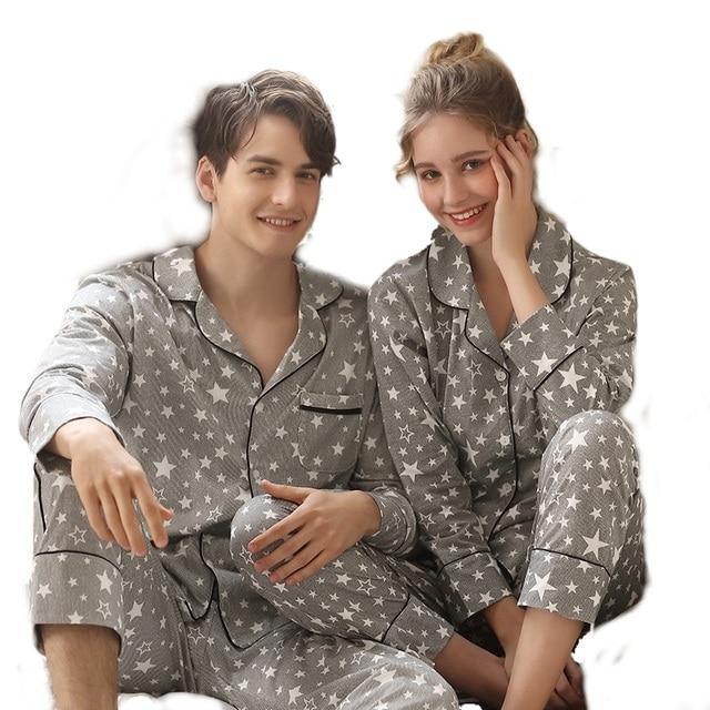 زوجين جديد منامة الرجال 2020 موضة ملابس المنزل الرجال والنساء سترة القطن ملابس خاصة التلبيب نجوم طباعة ملابس خاصة طقم بيجاما