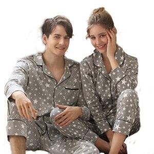 Image 1 - Couple New Pajamas Men 2020 Fashion Home Clothing Men And Women Cardigan Cotton Sleepwear Lapel Stars Print Sleepwear Pyjama Set