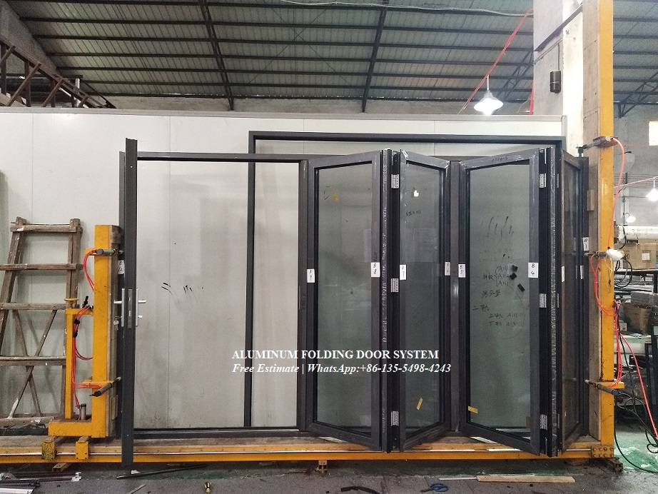 Aluminum Alloy Hurricane Impact Bi-fold Door Design,folding Doors With Internal Shutter And Blinds