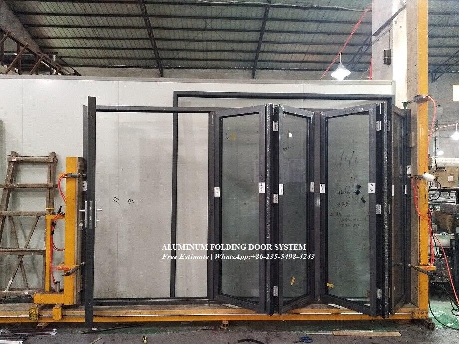 Conception de porte bi-pliante d'impact d'ouragan d'alliage d'aluminium, portes pliantes avec l'obturateur interne et les stores