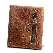 Vintage Crazy Horse Wallet Genuine Leather Men Bifold Wallets Fashion Purse RFID Card Holder Wallet with Zipper Coin Pocket цена