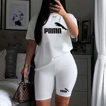 2021 Casual 2 Piece Set Women T-Shirt Tracksuit Pink Letter Print Tops + Biker Shorts Matching Sets Streetwear Outfits