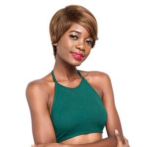 Image 5 - Ombre renk düz insan saçı peruk siyah kadınlar için X TRESS brezilyalı postiş 10 inç kısa Bob olmayan Remy saç peruk yan parça