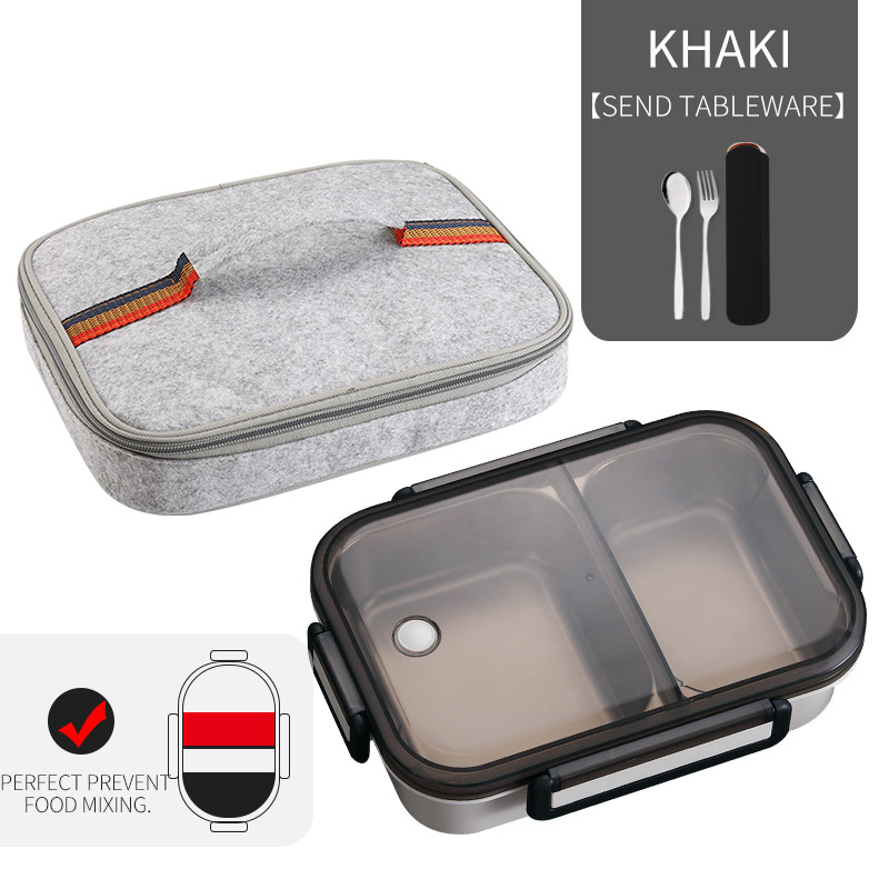 WORTHBUY японский Ланч-бокс для детей школы 304 из нержавеющей стали бенто Ланч-бокс герметичный контейнер для еды детская коробка для еды - Цвет: A Khaki Bag Set