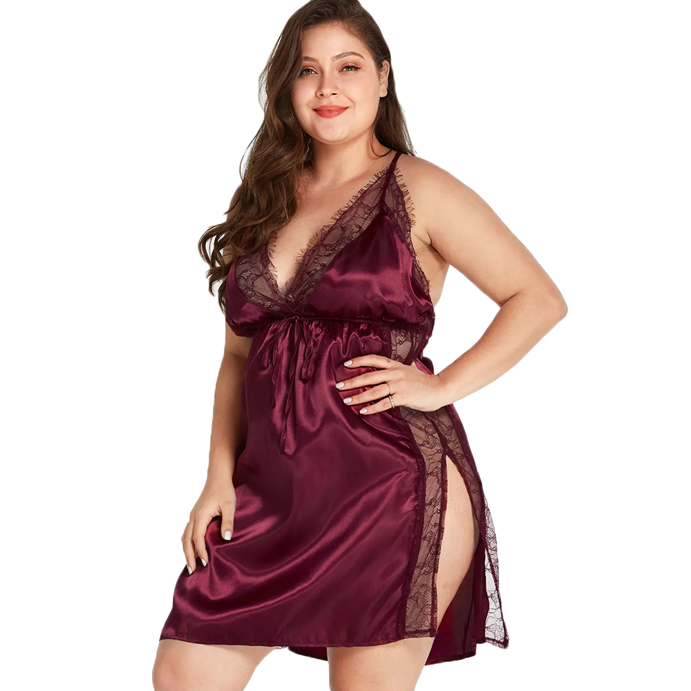 Plus Size Women Babydoll Sleep Dress Sexy Lace Sling Sleepwear Hot Erotic Nightdress Women Deep V-Neck Night Underclothes 5xl 35