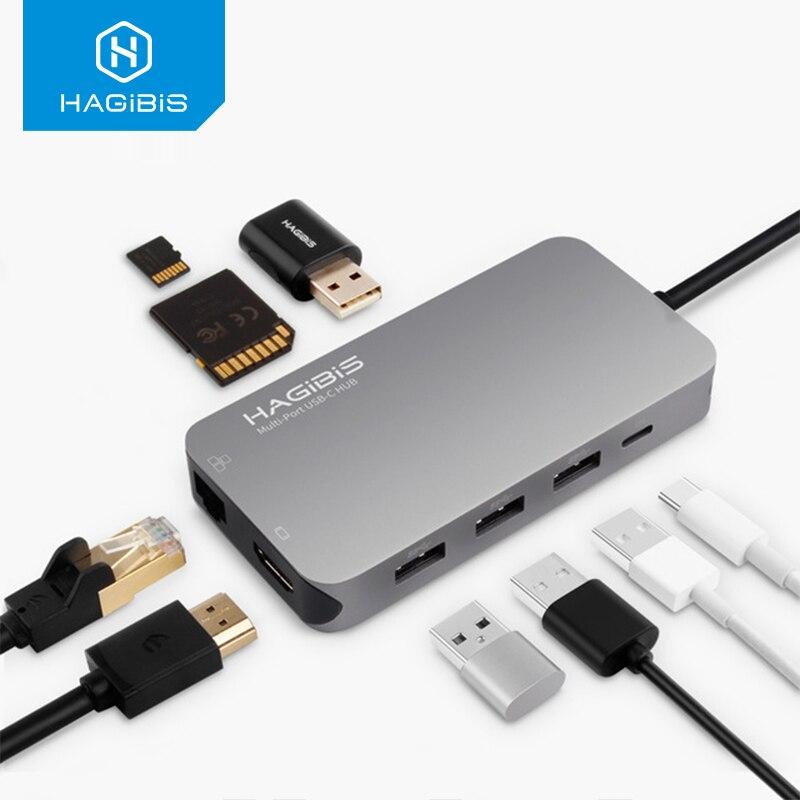 Hagibis 9-em-1 USB Tipo C-c HUB 3.0 USB-C para HDMI 4K SD/ leitor de Cartão TF PD de carregamento HUB Gigabit Ethernet Adapter para MacBook Pro