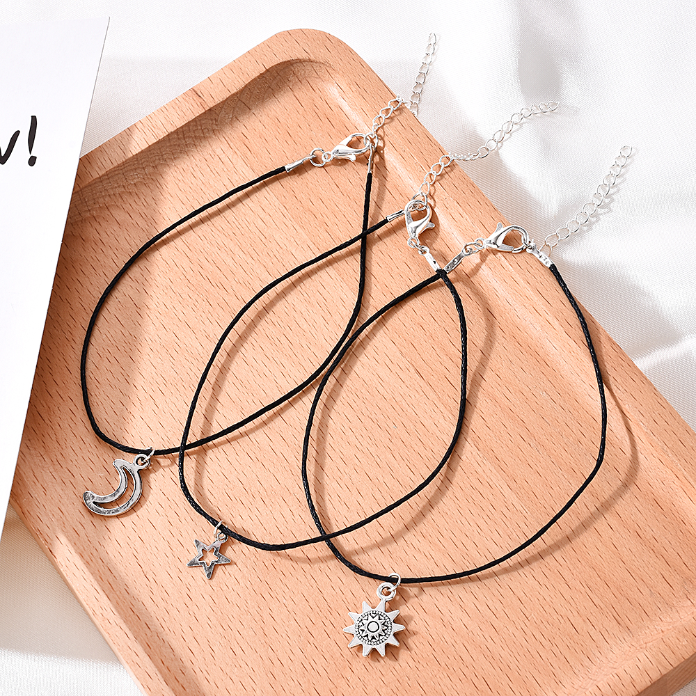3pcs/set Fashion Sun Moon Star Ankle Bracelets Anklets for Women Leg Bracelet Beach Accessories Bohemian Feet Jewelry Gifts