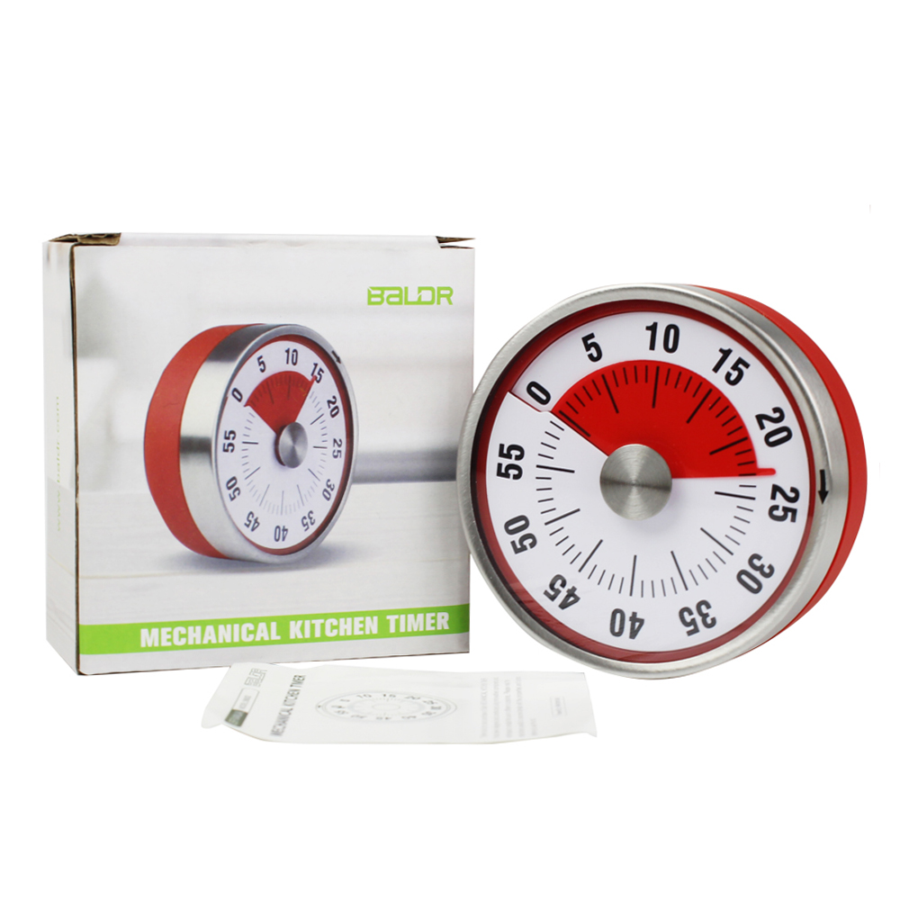 Baldr Stainless Steel Kitchen Timer Alarm Cooking Timer mechanical Round Countdown Magnetic Clock Timer 6