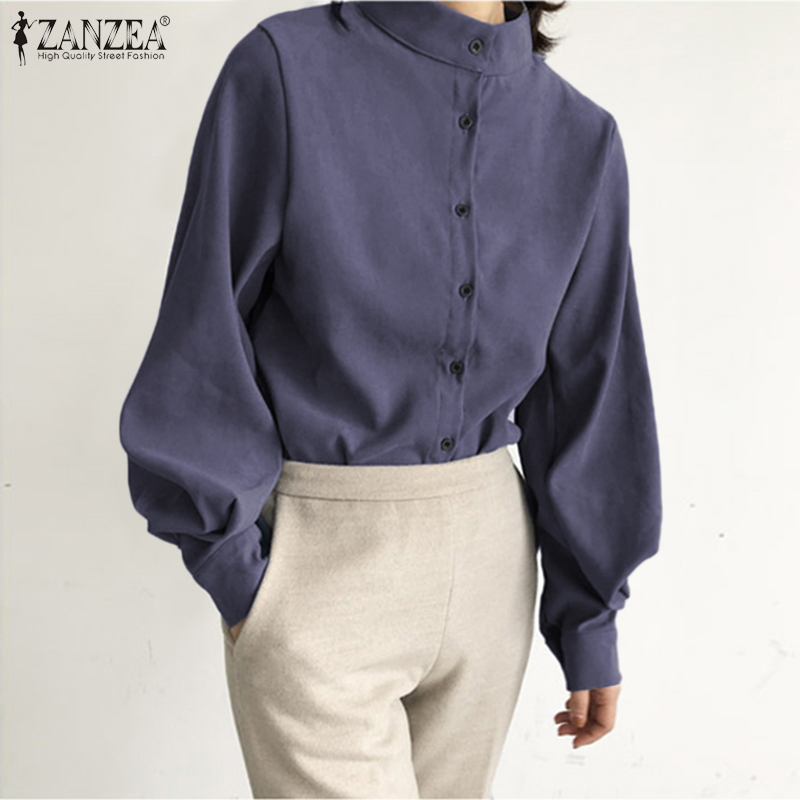 Plus Size Women's Blouse OL Shirt Elegant Work Chic Solid Tunic Tops Casual Lantern Sleeve Blusas Buttons Down Chemiser Mujer 7