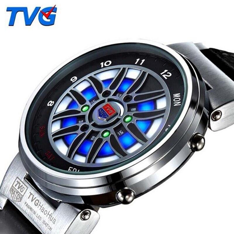 Часы наручные мужские с кожаным ремешком, модные креативные светодиодные Аналоговые электронные, многофункциональные спортивные|Цифровые часы| | АлиЭкспресс