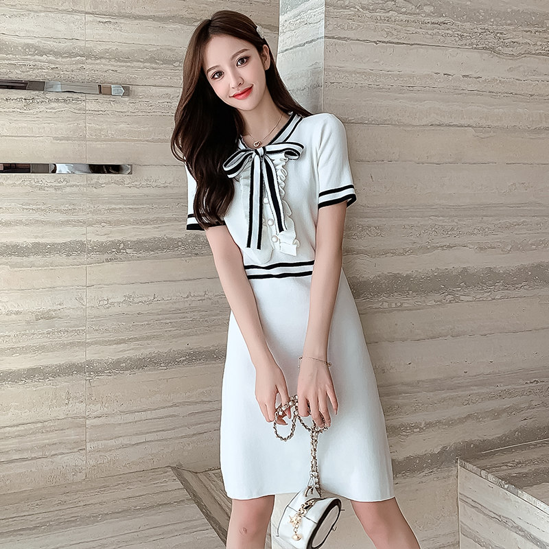 High Waist Ruffles Button Sweater Dress Elegant Soft A-line Women Bow Striped Knitted Dress Office Lady Chic Party Summer Dress