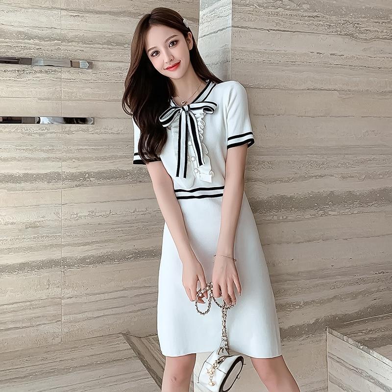 High Waist Ruffles Button Sweater Dress Elegant Soft A-line Women Bow Striped Knitted Dress Office Lady Chic Party Summer Dress