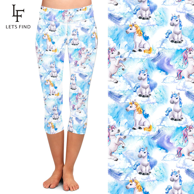 LETSFIND 220gsm Double Side Brushed Milk Silk Print 3D Baby Unicorns Pattern High Waist Plus Size Slim Mid-Calf Leggings 2