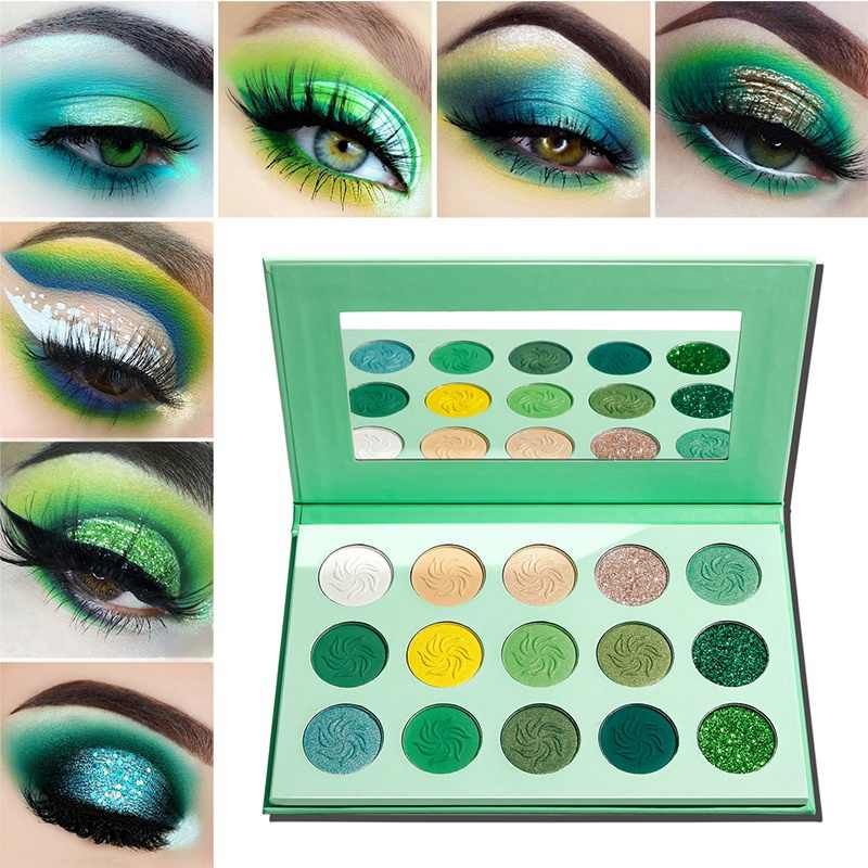 DE'LANCI Makeup Eyeshadow Palette 15 Color Matte Shimmer Pigmented Glitter Eye Shadow Palette Rainbow Neon Make Up Palette-Green