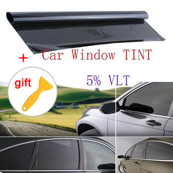 100x50cm High Quality Black Car Window TINT 5% VLT Sticker Decal Film+Scraper Non-reflective Dyed Film Scratch Resistant CSV image
