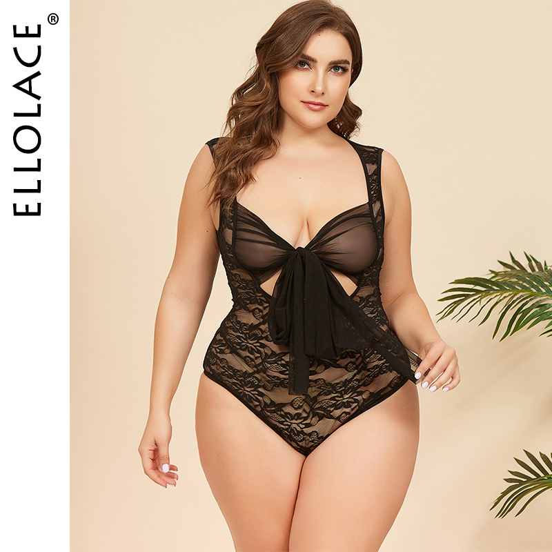 Ellolace Plus Size Lace Bow-knot Bodysuit Hollow Out Wholesale Sleeveless Bodycon Overalls Female Transparent Body 2020 New