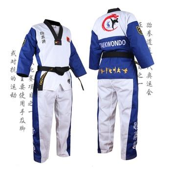 Alta calidad negro rojo azul Taekwondo niños y adultos uniforme de TKD capacitación Karate trajes uniformes bordados Poomsae Dobok WTF aprobados