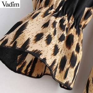 Image 5 - Vadim donne stella della stampa del leopardo del vestito modello animale manica lunga telai di moda femminile casuale di lunghezza del ginocchio abiti abiti QD091